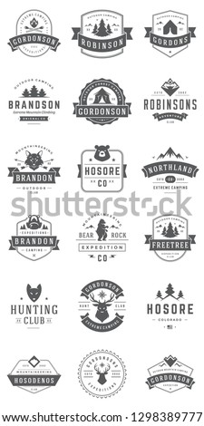 Camping logos templates vector design elements and silhouettes set, Outdoor adventure mountains and forest expeditions, vintage style emblems and badges retro illustration. #1298389777