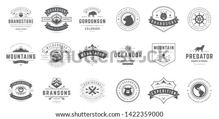 Camping logos templates vector design elements and silhouettes set, Outdoor adventure mountains and forest expeditions, vintage style emblems and badges retro illustration. #1422359000