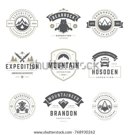camping logos templates vector