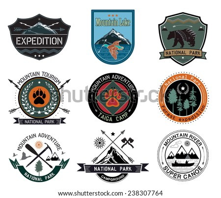 Camping logotype. Outdoor activity logo icons icons. Mountain fishing logo badges. Symbol of wild animals. Mountain camp logo. Tourism icons symbols. Set of vintage mountain camp. National Park logo.