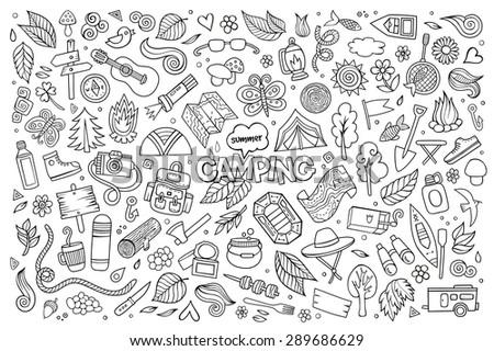camping nature hand drawn