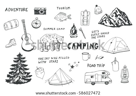 camping objects set.