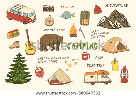 camping objects, trip doodle vector set.