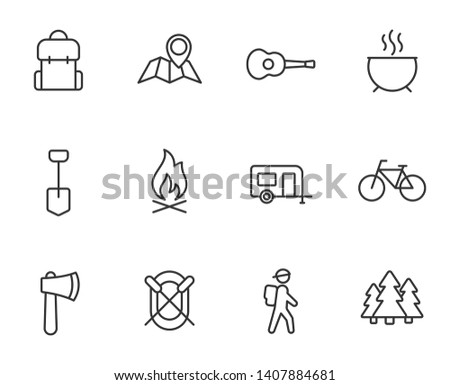 camping outline flat icons for web and ui design. summer camping outline vector icons set isolated on white background. summer camping recreation concept
