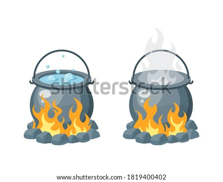 Camping pot over the bonfire. Boiling water or soup in a cauldron. Simple vector illustration in flat style isolated on a white background. Stock photo ©
