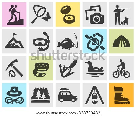 camping set black icons signs