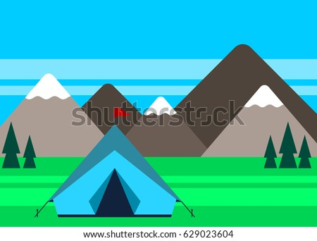 Camping site with a tent and mountains in the background