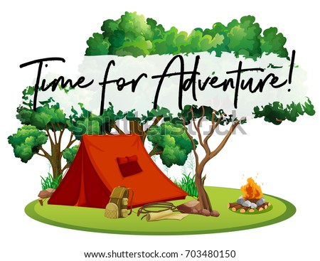 Camping site with phrase time for adventure illustration