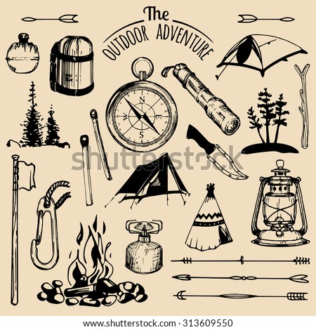 camping sketched elements....