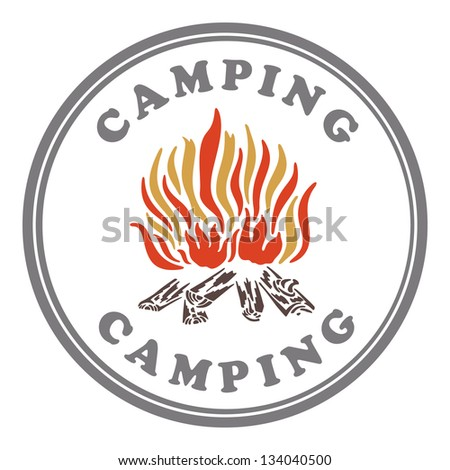 Camping stamp - stock vector