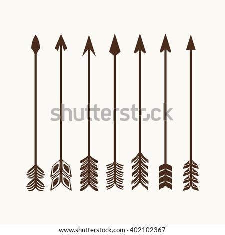 Camping symbols. Big set of hand drawn arrows. #402102367
