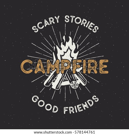 Camping t shirt design. Hand drawn vintage label with texts, textured campfire and sunbursts. Letterpress effect. Vector outdoors adventure illustration isolated. Hipster logotype.