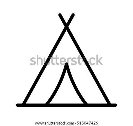 Camping Tent At Outdoor Camp Or Tipi Teepee Line Art Icon For Apps And Websites