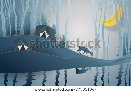 Stock Photo Camping tent, Family Adventure Camp. under the view pine forest landscape near water outdoor and mountains background, with moonlight. paper art and craft style. Vector illustration.