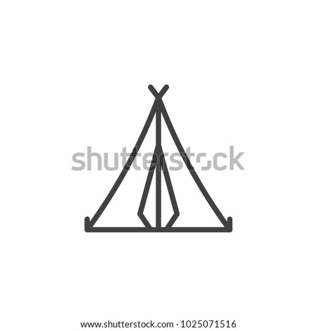 Camping tent outline icon. linear style sign for mobile concept and web design. Sport and tourism simple line vector icon. Symbol, logo illustration. Pixel perfect vector graphics