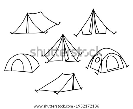 Camping tent set. Hiking, travel, camping.  Camping equipment for camping. Drawn by contour on a white background in doodle style. Vector.