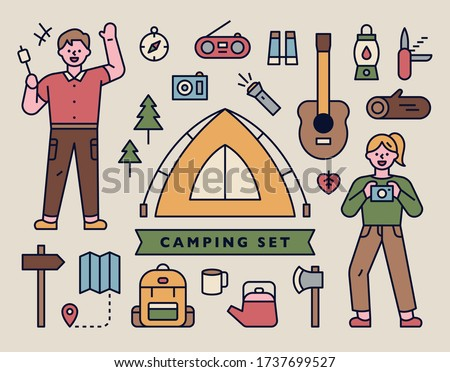 Camping tools icons with men and women characters camping. flat design style minimal vector illustration.