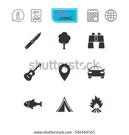 camping  tourism icons fishing