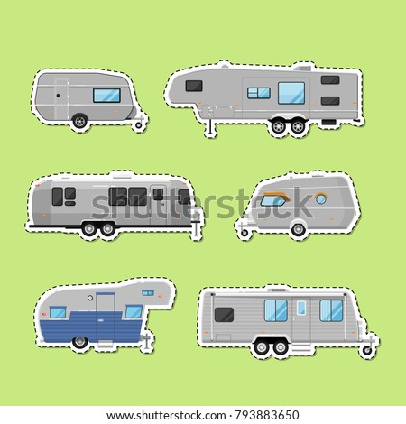 Camping trailers isolated labels. Car RV trailer caravan, modern motorhome, mobile home for country traveling, outdoor family vacation. Side view recreational vehicles vans vector illustration
