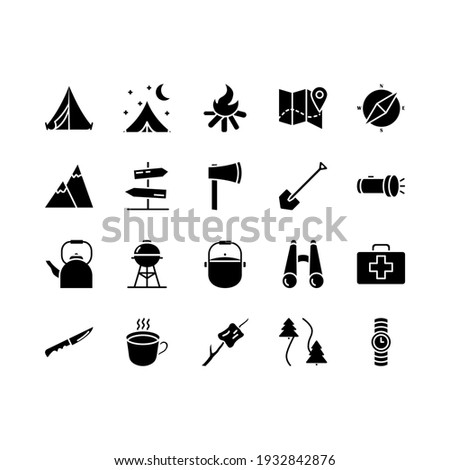 Camping, travel and picnic icons set. Line style icons for web and ui design. Contains such as tent, compasses, mountain and other camping equipment. Suitable for campsites, camp fires and adventures.