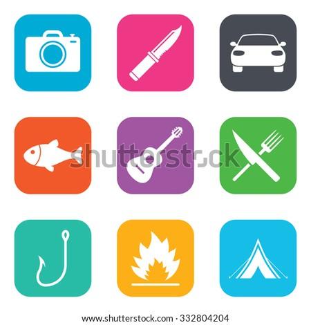 camping travel icons fishing