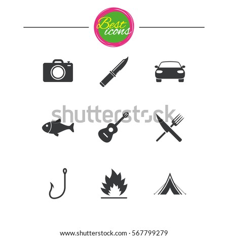 camping travel icons fishing