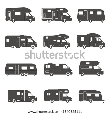 Camping trucks black glyph icons vector set. Various tourist buses, trailers silhouette symbols. Outdoor recreation, camping caravan, road trip. Recreational vehicles isolated illustrations