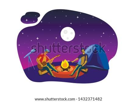 camping under open night sky