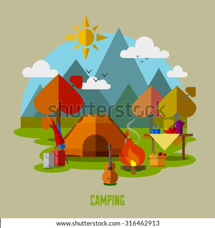 Camping vector flat illustration landscape collection, hiking and outdoor recreation concept, travel icons. Travel tourism rest vacation near mountains in forest, nature weather concept template.