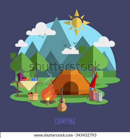 Camping vector flat illustration landscape, hiking, outdoor recreation concept with flat camping travel icons. Travel tourism rest vacation near mountains in forest, nature weather concept template.