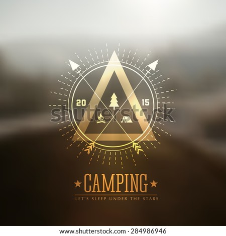Camping vector labels with blurred background