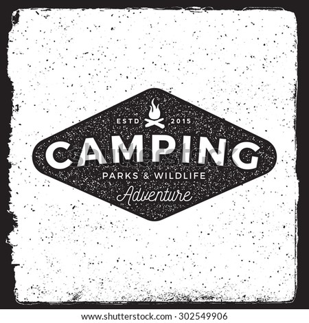 camping vintage emblem. logotype template with campfire. outdoor activity symbol with ink stamp texture