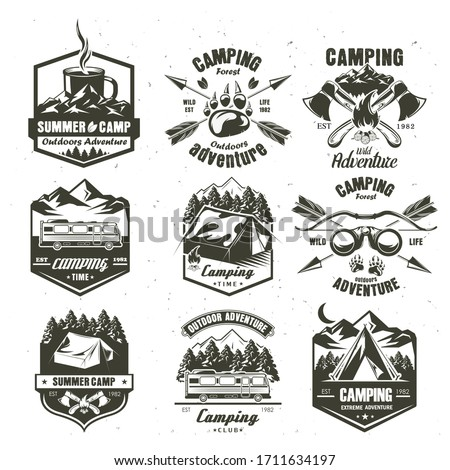 Camping vintage logo, badge, emblem set, vector monochrome illustration. Camping time, summer camp, extreme outdoor adventure black labels isolated on white background.