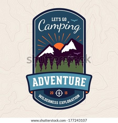 Camping wilderness adventure badge graphic design logo emblem