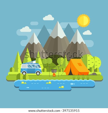 Campsite place in mountain lake area. Forest camping travel landscape with rv camper bus in flat design. Summer camp place with traveler bus vector illustration. National park auto trip campground.