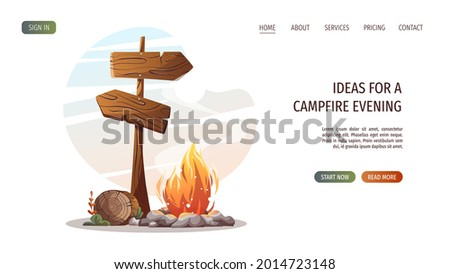 Campsite with campfire, log and guidepost. Camping, traveling, trip, hiking, camper, nature, journey concept. Vector illustration for poster, banner, website. Stock photo ©