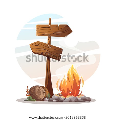 Campsite with campfire, log and guidepost. Camping, traveling, trip, hiking, camper, nature, journey concept. Isolated vector illustration for poster, banner, card, postcard. Stock photo ©