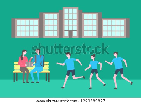 Campus territory, university students reading and jogging vector. Guy and girl on bench with book, sportsmen running, education and healthy lifestyle