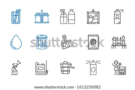 can icons set. Collection of can with homemade, hairspray, bucket, sprayer, spray, beer, seeds, dustpan, trash, water drop, paint spray, painting. Editable and scalable can icons.