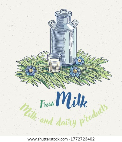 Can of milk on the lawn with a glass of milk. Vector illustration.