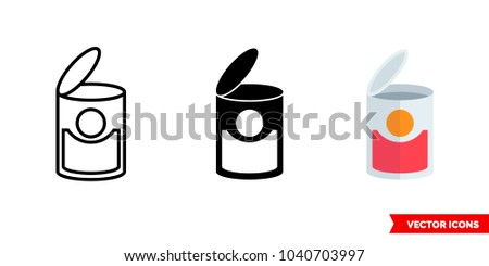 Can symbol icon of 3 types: color, black and white, outline. Isolated vector sign symbol.