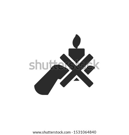 Can't hold a candle in your hand filled icon. Labeled for fire safety. Labeling for wax candles. Sings for desing, for a website, for label printing.