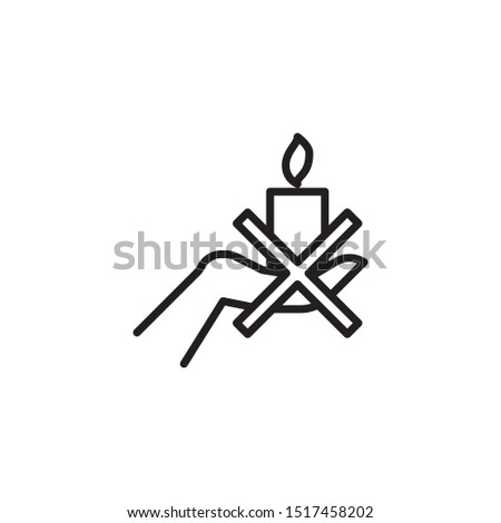 Can't hold a candle in your hand line icon. Labeled for fire safety. Labeling for wax candles. Sings for desing, for a website, for label printing.