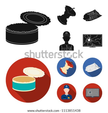 Can used used pot, apple stub, old dirty and wrinkled newspaper, the man who takes out the garbage.Garbage and trash set collection icons in black,flat style vector symbol stock illustration web.
