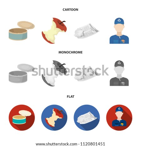 Can used used pot, apple stub, old dirty and wrinkled newspaper, the man who takes out the garbage.Garbage and trash set collection icons in cartoon,flat,monochrome style vector symbol stock