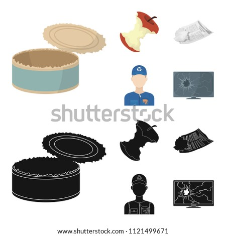 Can used used pot, apple stub, old dirty and wrinkled newspaper, the man who takes out the garbage.Garbage and trash set collection icons in cartoon,black style vector symbol stock illustration web.