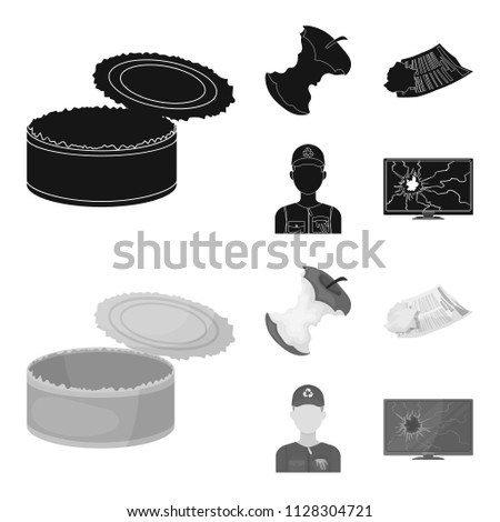 Can used used pot, apple stub, old dirty and wrinkled newspaper, the man who takes out the garbage.Garbage and trash set collection icons in black,monochrome style vector symbol stock illustration web
