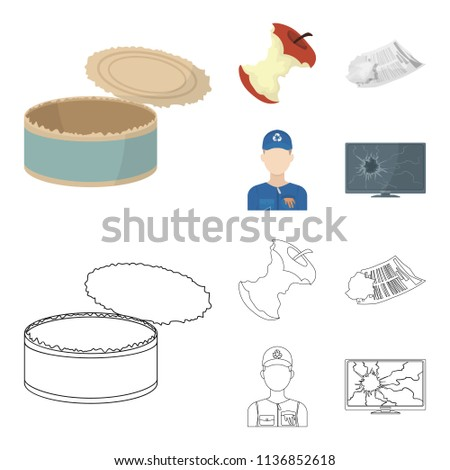 Can used used pot, apple stub, old dirty and wrinkled newspaper, the man who takes out the garbage.Garbage and trash set collection icons in cartoon,outline style vector symbol stock illustration web.