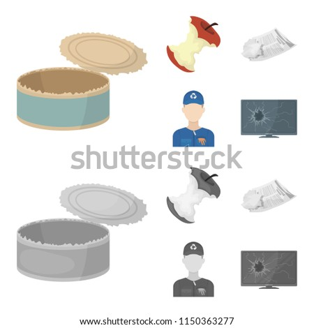 Can used used pot, apple stub, old dirty and wrinkled newspaper, the man who takes out the garbage.Garbage and trash set collection icons in cartoon,monochrome style vector symbol stock illustration