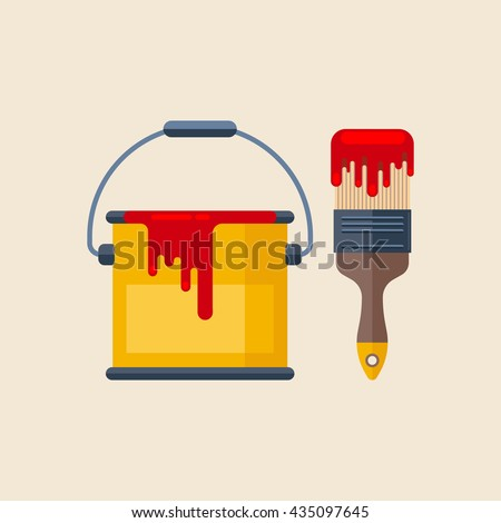 Can with red paint and paintbrush isolated on light background. Vector, flat, illustration